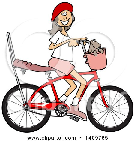 Cartoon Clipart of a Happy Brunette Caucasian Girl Riding a Stingray Bicycle - Royalty Free Vector Illustration by djart