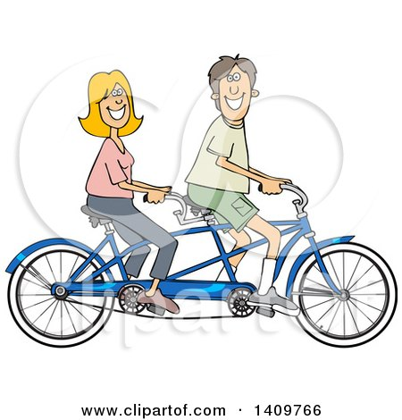 Cartoon Clipart of a Happy Caucasian Couple Riding a Blue Tandem Bicycle - Royalty Free Vector Illustration by djart