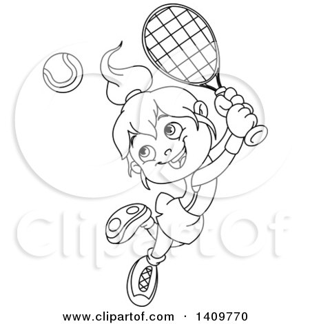 Clipart of a Black and White Lineart Happy Little Girl Playing Tennis - Royalty Free Vector Illustration by yayayoyo