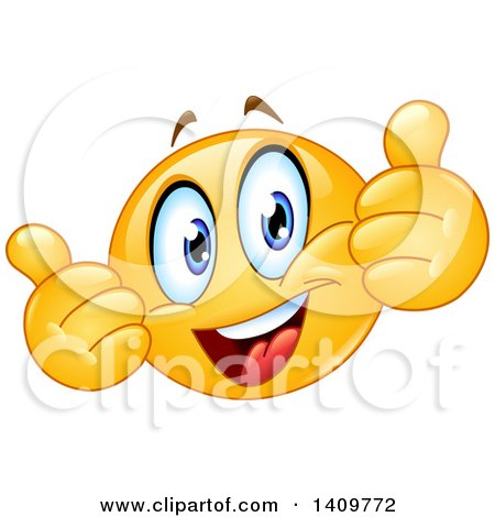 clipart of a yellow smiley face emoji emoticon giving two thumbs up rh clipartof com Thumbs Up Funny Face Thumbs Up Smiley