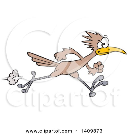 Clipart of a Sprinting Roadrunner Bird - Royalty Free Vector Illustration by toonaday