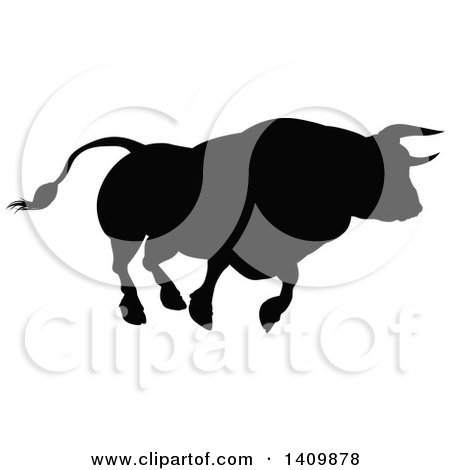 Clipart of a Silhouetted Black Bull Charging - Royalty Free Vector Illustration by AtStockIllustration