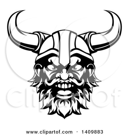 Clipart of a Black and White Cartoon Yelling Male Viking Warrior Face - Royalty Free Vector Illustration by AtStockIllustration