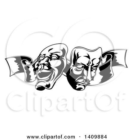 Clipart of Black and White Comedy and Tragedy Theater Masks on a Ribbon - Royalty Free Vector Illustration by AtStockIllustration