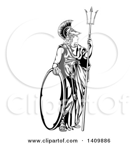 Clipart of a Black and White Engraved Athena Britannia with a Trident and Shield - Royalty Free Vector Illustration by AtStockIllustration