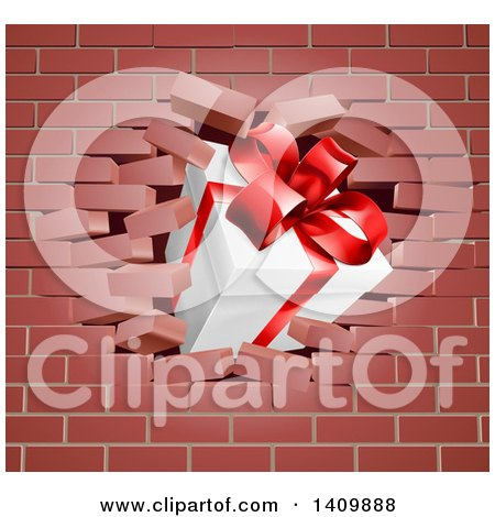 Clipart of a 3d Gift Box Breaking Through a Brick Wall - Royalty Free Vector Illustration by AtStockIllustration