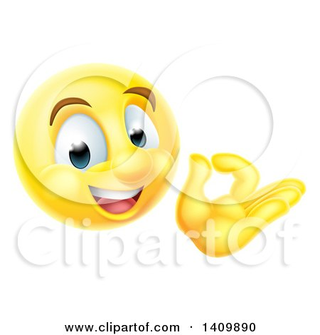 Clipart of a 3d Happy Yellow Male Smiley Emoji Emoticon Face Gesturing Ok or Perfect - Royalty Free Vector Illustration by AtStockIllustration