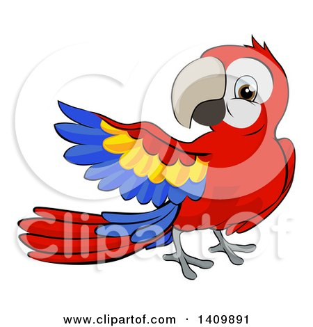 Clipart of a Cartoon Scarlet Macaw Parrot Presenting - Royalty Free Vector Illustration by AtStockIllustration