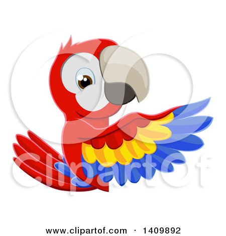 Clipart of a Cartoon Scarlet Macaw Parrot Pointing Around a Sign - Royalty Free Vector Illustration by AtStockIllustration