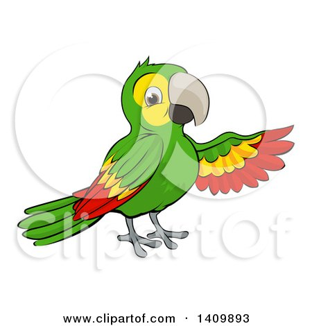Clipart of a Cartoon Green Macaw Parrot Presenting - Royalty Free Vector Illustration by AtStockIllustration