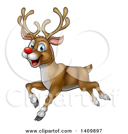 Clipart Of A Happy Rudolph Red Nosed Reindeer Running Or Flying