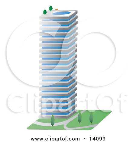Commercial City Building With a Swimming Pool on the Roof Clipart Illustration by Rasmussen Images