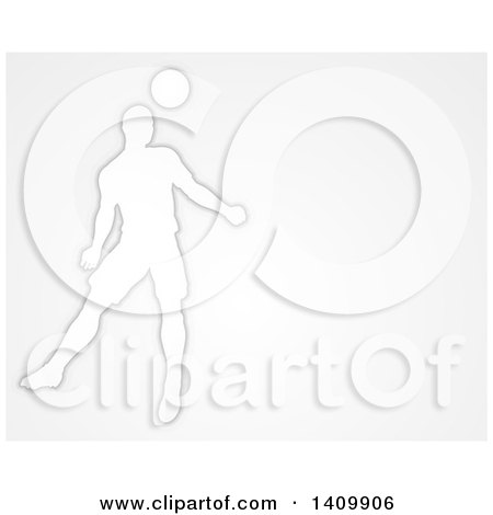 Clipart of a White Silhouetted Male Soccer Player Heading a Ball, over Gray - Royalty Free Vector Illustration by AtStockIllustration