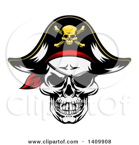 Clipart of a Pirate Skull Wearing a Patch and Captain Hat - Royalty Free Vector Illustration by AtStockIllustration