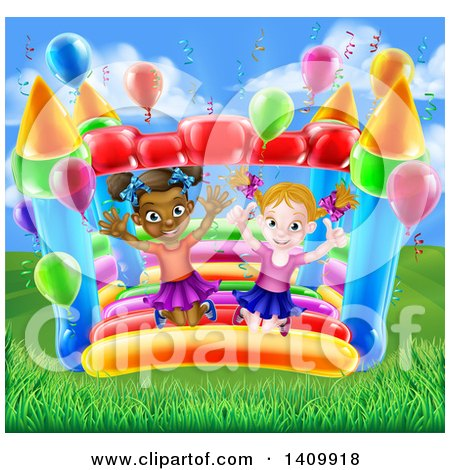 Clipart of a Cartoon Happy White and Black Girls Jumping on a Bouncy House Castle in a Park - Royalty Free Vector Illustration by AtStockIllustration