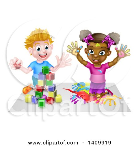 Clipart of a Cartoon Happy Black Girl Kneeling and Painting Artwork and White Boy Playing with Toy Blocks - Royalty Free Vector Illustration by AtStockIllustration