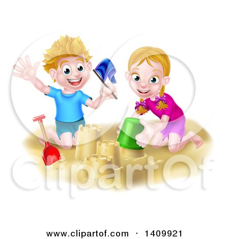 Clipart of a Happy White Boy and Girl Playing and Making Sand Castles on a Beach - Royalty Free Vector Illustration by AtStockIllustration