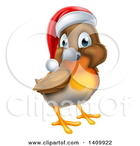 Clipart of a Cheerful Christmas Robin in a Santa Hat - Royalty Free Vector Illustration by AtStockIllustration
