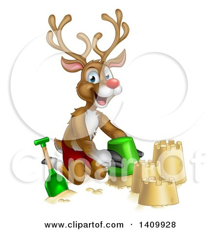 Clipart of a Happy Rudolph Red Nosed Reindeer Making a Sand Castle - Royalty Free Vector Illustration by AtStockIllustration