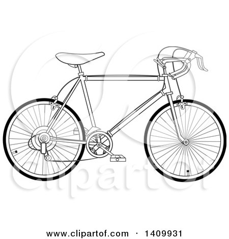 Clipart of a Black and White 10 Speed Bicycle - Royalty Free Vector Illustration by djart