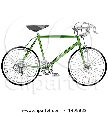 Clipart of a Green 10 Speed Bicycle - Royalty Free Vector Illustration by djart