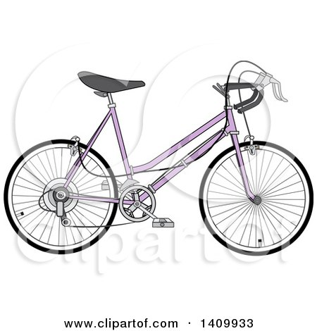 Clipart of a Purple 10 Speed Bicycle - Royalty Free Vector Illustration by djart