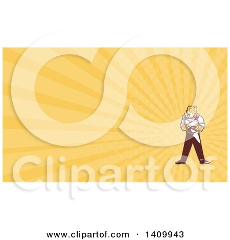 Clipart of a Cartoon Refrigeration and Air Conditioning Mechanic or Plumber Cheetah Holding a Pressure Temperature Gauge and Monkey Wrench and Yellow Rays Background or Business Card Design - Royalty Free Illustration by patrimonio