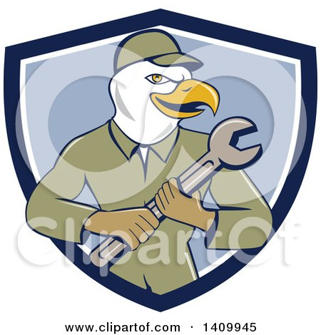 Clipart of a Retro Cartoon Bald Eagle Mechanic Man Holding a Spanner Wrench in a Blue and White Shield - Royalty Free Vector Illustration by patrimonio