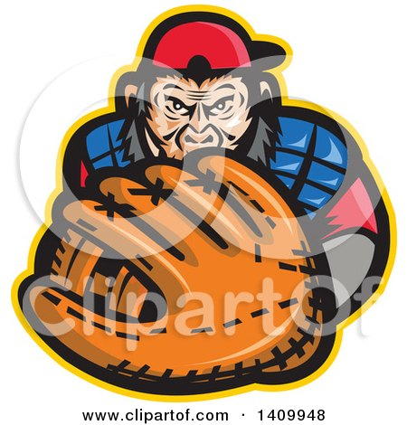 Clipart of a Tough Chimpanzee Monkey Baseball Player Catcher Holding out a Glove - Royalty Free Vector Illustration by patrimonio