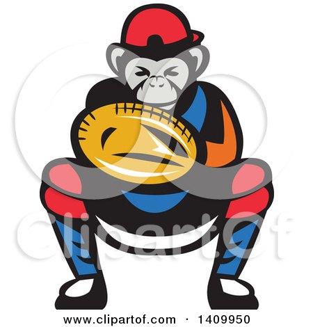 Clipart of a Tough Chimpanzee Monkey Baseball Player Catcher Crouching - Royalty Free Vector Illustration by patrimonio