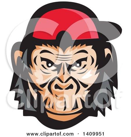Clipart of a Mad Chimpanzee Baseball Player Wearing Cap Backwards - Royalty Free Vector Illustration by patrimonio