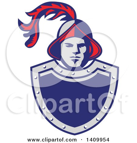 Clipart of a Retro Spanish Conquistador Head with a Plume over a Gray and Blue Shield - Royalty Free Vector Illustration by patrimonio