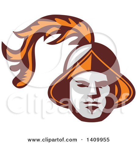 Clipart of a Retro Spanish Conquistador Head with a Plume - Royalty Free Vector Illustration by patrimonio