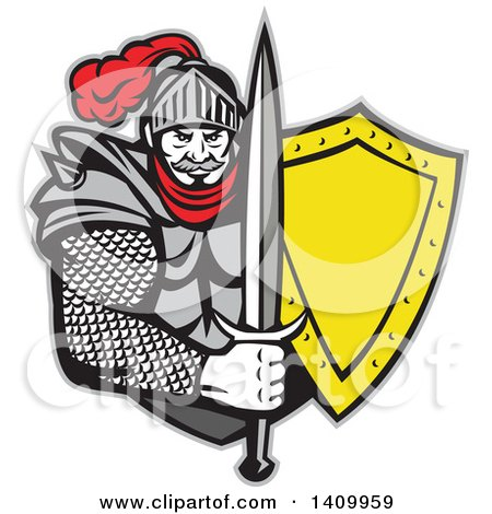 Clipart of a Retro Knight in Full Armor, Holding Sword and Shield - Royalty Free Vector Illustration by patrimonio