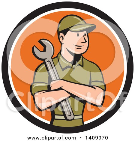 Clipart of a Retro Cartoon White Handy Man or Mechanic Holding a Spanner Wrench in Folded Arms in a Black White and Orange Circle - Royalty Free Vector Illustration by patrimonio