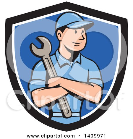 Clipart of a Retro Cartoon White Handy Man or Mechanic Holding a Spanner Wrench in Folded Arms in a Black White and Blue Shield - Royalty Free Vector Illustration by patrimonio