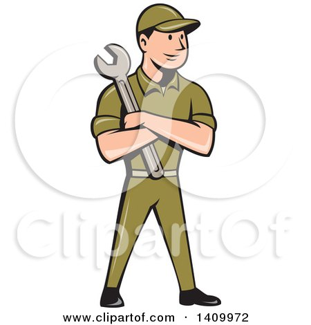 Clipart of a Retro Cartoon White Handy Man or Mechanic Standing and Holding a Spanner Wrench in Folded Arms - Royalty Free Vector Illustration by patrimonio