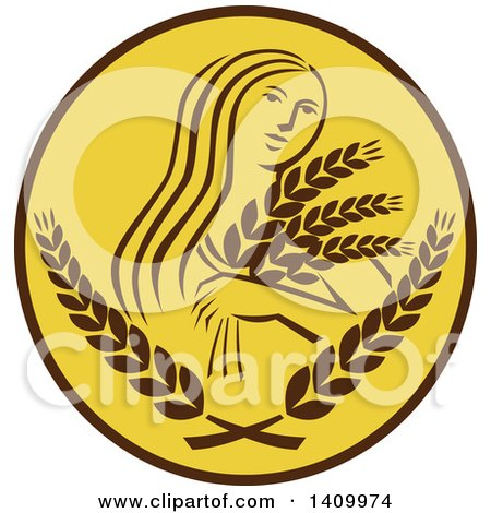 Clipart of a Greek Goddess, Demeter, Holding Grains in a Brown and White Circle - Royalty Free Vector Illustration by patrimonio