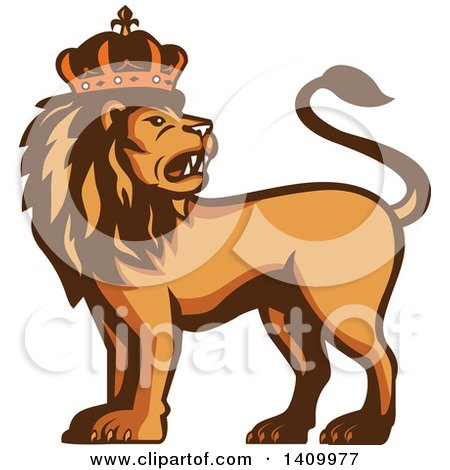 Clipart of a Retro Crowned King Lion - Royalty Free Vector Illustration by patrimonio