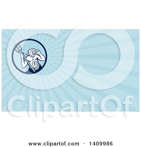 Clipart of a Roman Sea God, Neptune or Poseidon, with a Trident and Blue Rays Background or Business Card Design - Royalty Free Illustration by patrimonio