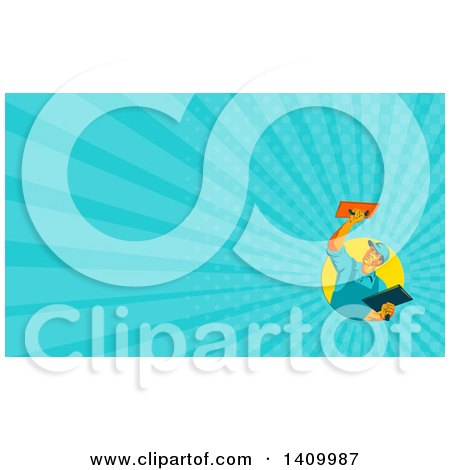 Clipart of a Retro WPA Styled Plasterer Worker Man and Blue Rays Background or Business Card Design - Royalty Free Illustration by patrimonio