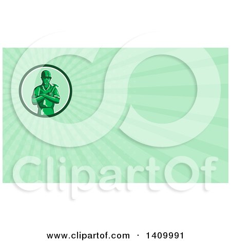 Retro Green Toy Male Carpenter or Builder with Folded Arms, Holding a Hammer and Green Rays Background or Business Card Design Posters, Art Prints