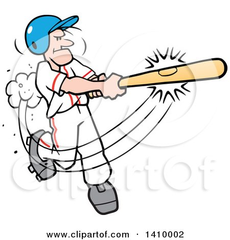 Clipart Of A Cartoon Caucasian Male Baseball Player Hitting A Home Run Symbolizing Its A Hit Royalty Free Vector Illustration