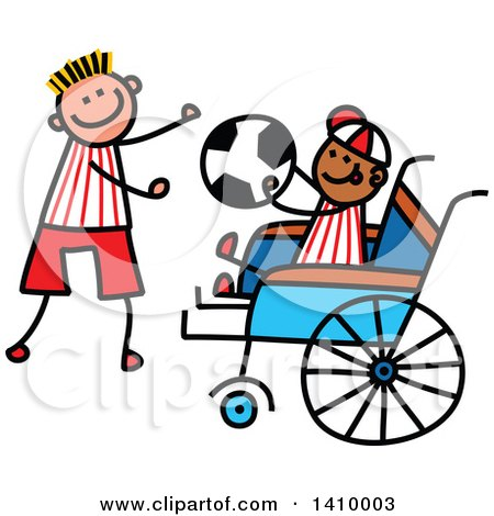 Clipart of a Doodled Disabled Boy and Friend Playing Soccer - Royalty Free Vector Illustration by Prawny