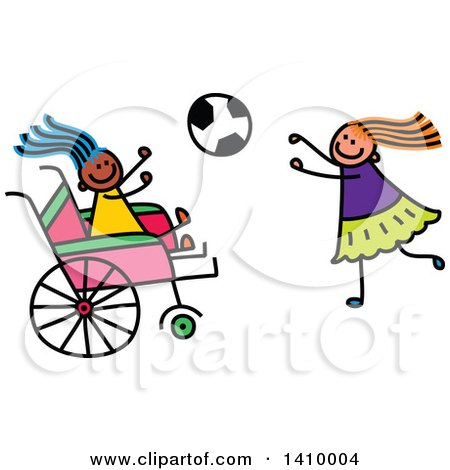 Clipart of a Doodled Disabled Girl and Friend Playing Soccer - Royalty Free Vector Illustration by Prawny