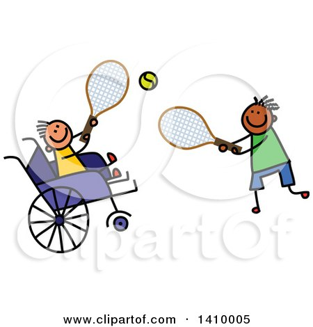 Clipart of a Doodled Disabled Boy and Friend Playing Tennis - Royalty Free Vector Illustration by Prawny