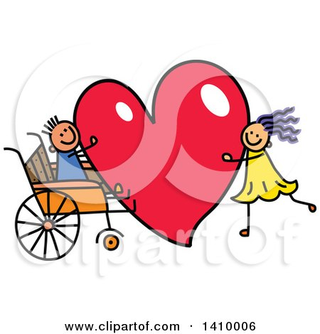 Clipart of a Doodled Disabled Boy and Girl with a Love Heart - Royalty Free Vector Illustration by Prawny