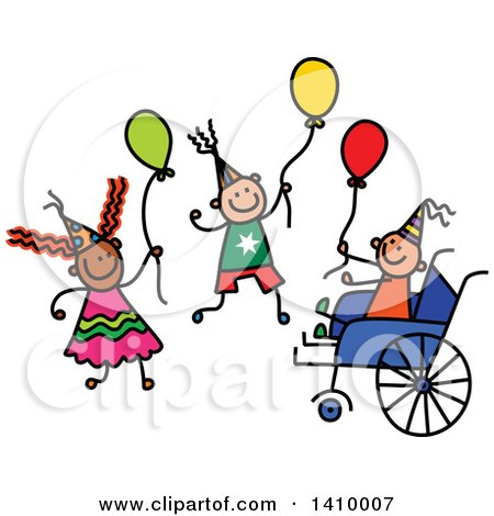 Clipart of a Doodled Disabled Boy and Friends at a Party - Royalty Free Vector Illustration by Prawny