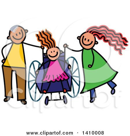 Clipart of a Doodled Disabled Girl and Parents - Royalty Free Vector Illustration by Prawny
