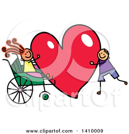 Clipart of a Doodled Disabled Girl and Boy with a Love Heart - Royalty Free Vector Illustration by Prawny